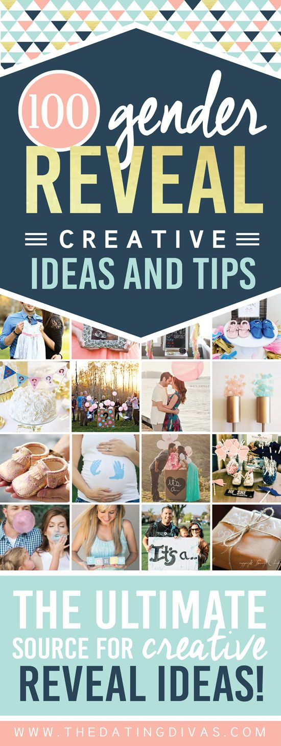 100 SUPER CREATIVE GENDER REVEAL ANNOUNCEMENTS! This is the ULTIMATE list of gender reveal ideas -  including photo tips, party themes, gender reveal games and activities, long distance announcements, and SO much more!!!