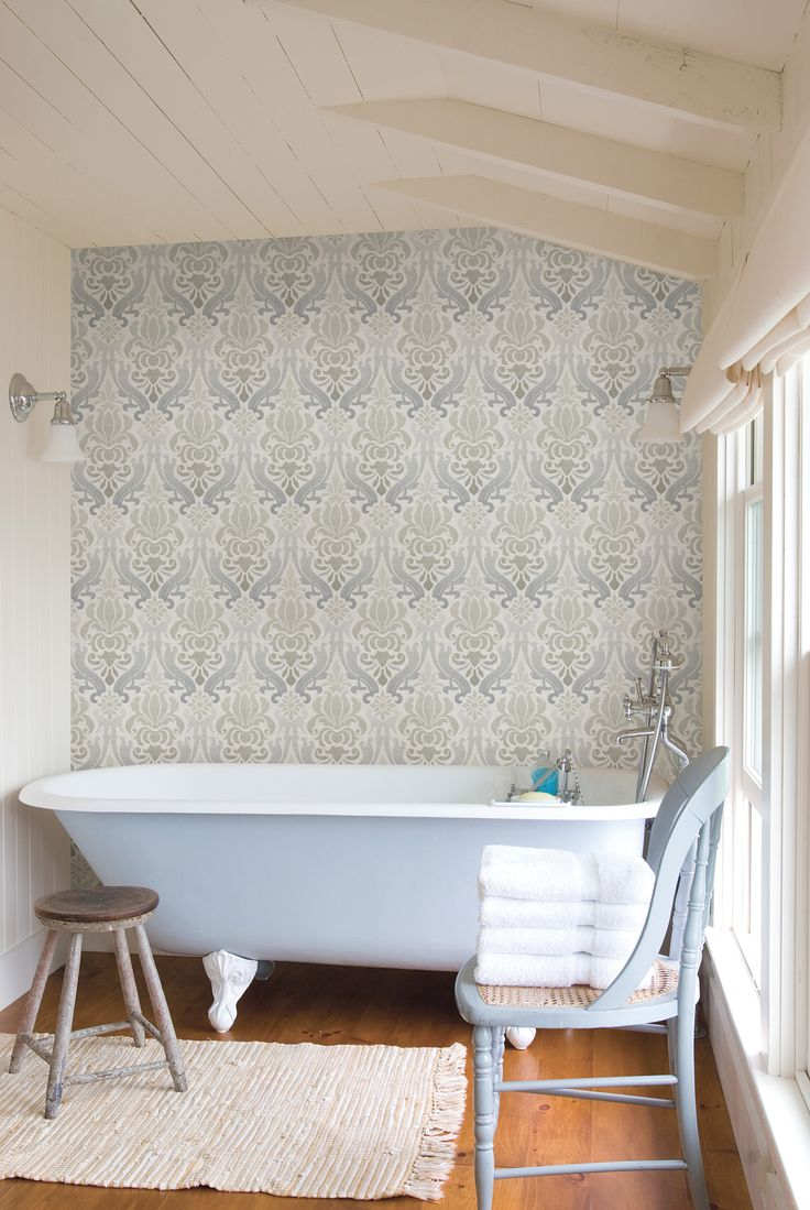 Aquitaine Blue Nouveau Damask Wallpaper//i actually like this wallpaper  statement wall! maybe bcs they used it on one and kept everything else  simple.