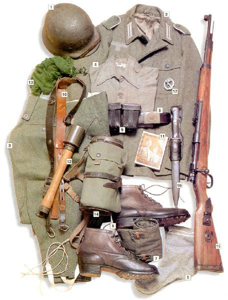 "Private, Volksgrenadier division, Italy/Greece, 1944   01 – M-40 helmet 02 – M-43 summer jacket 03 – ski trousers 04 – shirt 05 – socks 06 – boots 07 – M-41 leggins 08 – main belt 09 – ammo pouches 10 – M-38 webbing 11 – military songbook 12 – M-24 grenade 13 – face net 14 – M-38 gas mask 15 – 7,92 mm Mauser 98k rifle 16 – M-84/98 bayonet 17 – ""Infanterie-Sturmabzeichen""- Infantry assault badge"