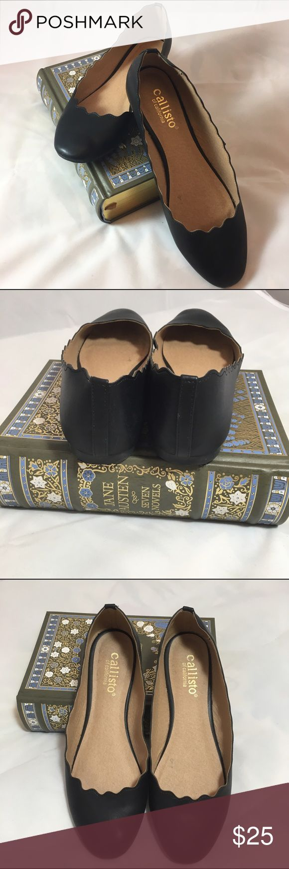 Callisto of California black flats  Callisto of California flats in black size 8  soft, flexible, comfortable material with smooth finish, scalloped edging popular this season pairs well with professional/office attire or slip on with skinny jeans  Shoes Flats & Loafers