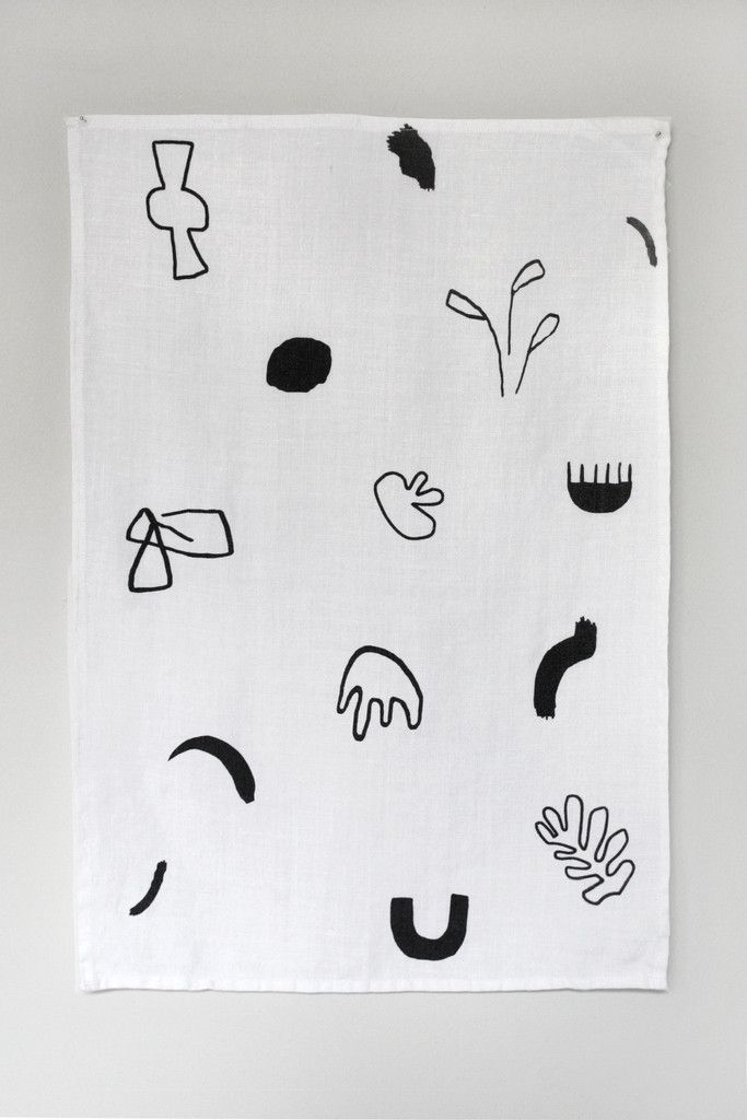 Tea Towel by Young Frankk. An original YF design hand silkscreen printed and hand sewn on 100% linen fabric. Linen will become more soft and absorbent with each wash. Woven tag in the back corner for