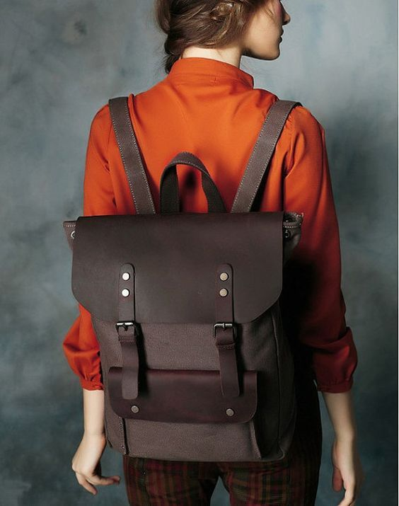 CANVAS LEATHER BACKPACK CASUAL BACKPACK RUCKSACK SCHOOL BACKPACK