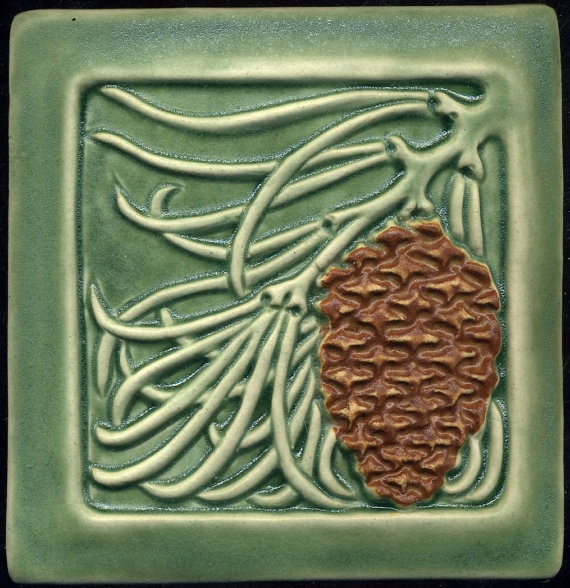 Green Craftsman style Pine Cone Tile  6 square by RavenstoneTiles, $35.00