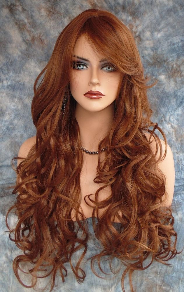 LONG CURLY HEAT SAFE SKIN TOP WIG CLR FS30.27 RED *GORGEOUS SEXY US SELLER 106 #SEPIA #FullWig