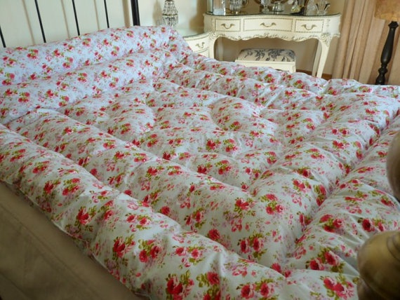Louisa Kingsize Feather Eiderdown Comforter Quilt Vintage