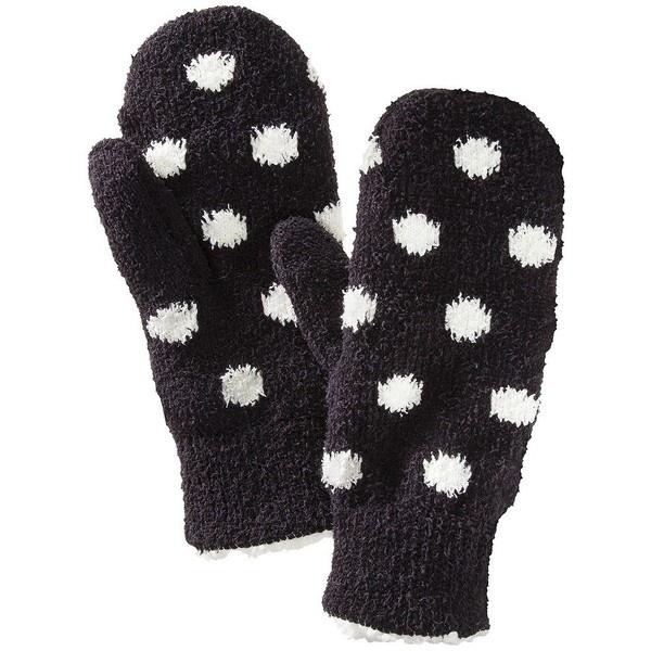 Isotoner Sherpa Knit Polka Dot Mitten - Black ($16) ❤ liked on Polyvore
