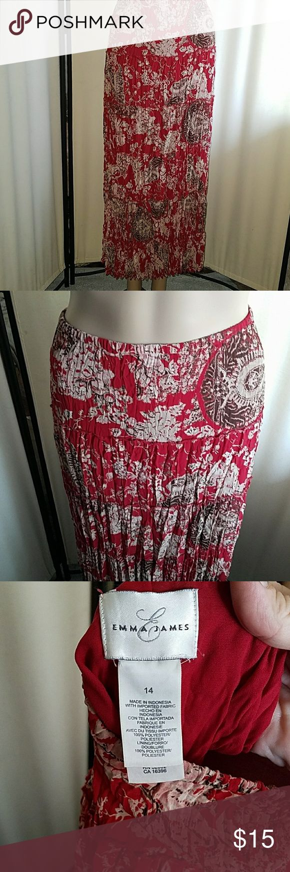 Broomstick skirt Brick red,  taupe, Browns and blush. Tag says 14 and measures 16 inches across at the waist.  In good condition. No stains defects are odors Emma James Skirts