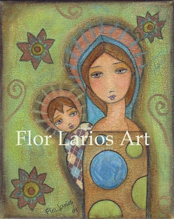 Blonde Madonna and Child  Reproduction From Mixed by FlorLarios, $15.00