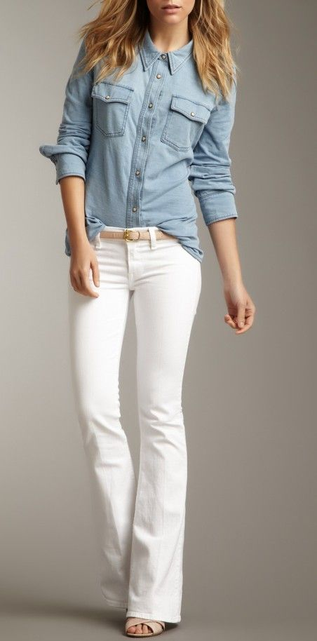 White flared jeans & chambray shirt