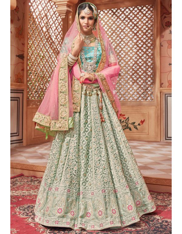 92e9b480ee Ice Green Designer Bridal Lehenga Choli in 2019 | Lehenga Choli ...