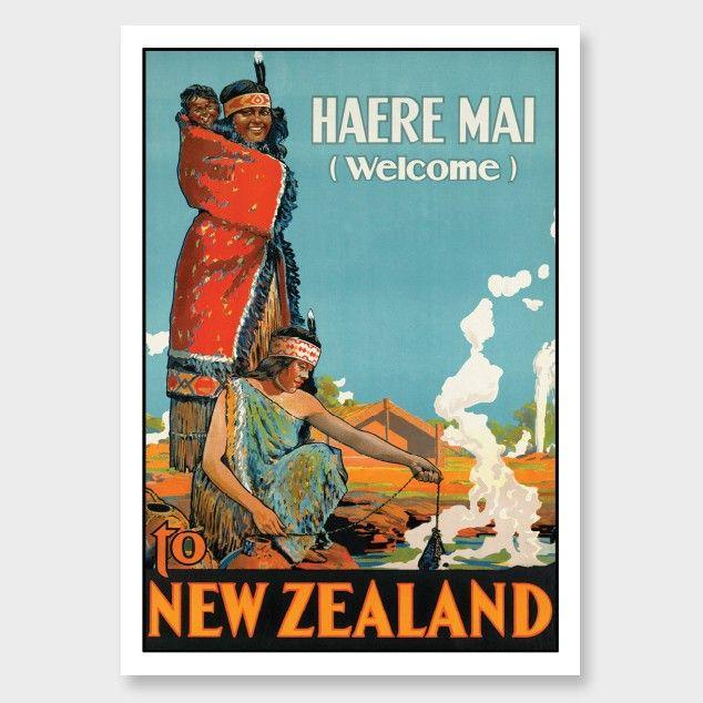 Haere Mai New Zealand Vintage Poster