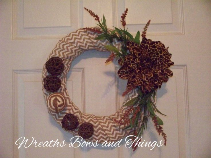 Burlap Chevron Wreath by WreathsBowsandThings on Etsy