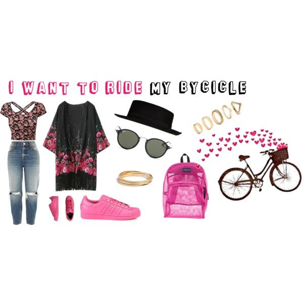 I WANNA RIDE MY BYCICLE!! by angelarosati on Polyvore featuring moda, River Island, adidas Originals, JanSport, Madewell, Forever 21 and Ray-Ban