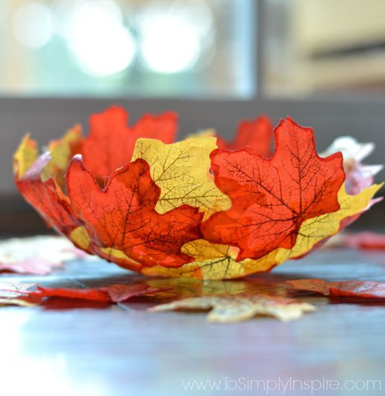 This beautiful Autumn Leaf Bowl will be the envy of all your friends and family. Be sure to try  the Maple Leaf Mason Jars and Fall Leaf Rose Bouquet too!