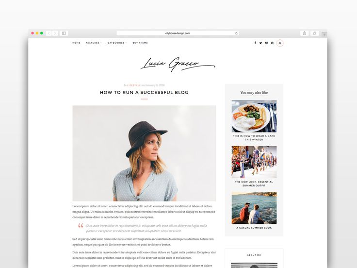Score: 87 Lucie Grasso is a clean and minimalist theme that allows your reader to focus on your content, build especially for daily or hobby bloggers who love to share their stuff, whether it's about life, fashion, travel, beauty or just a simple personal blog. Featuring a clean, elegant design, this theme ...