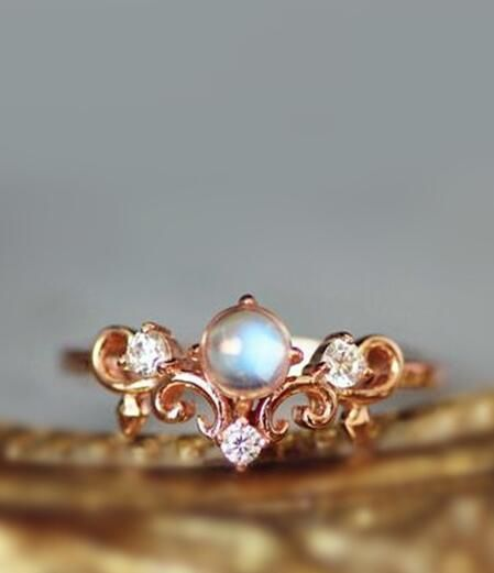 simple rose gold blue moonstone art deco crown promise ring