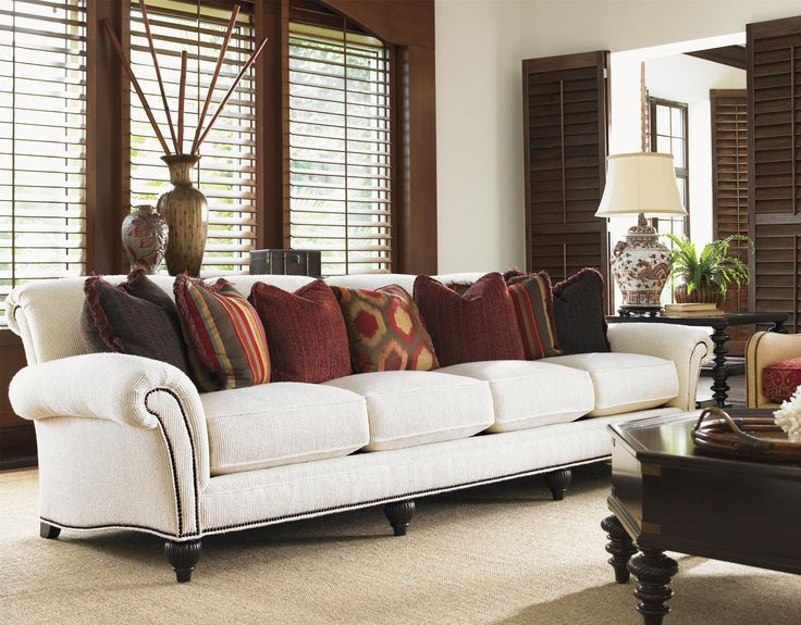 royal kahala edgewater rolled arm extended sofa with decorative nailhead trim by tommy bahama