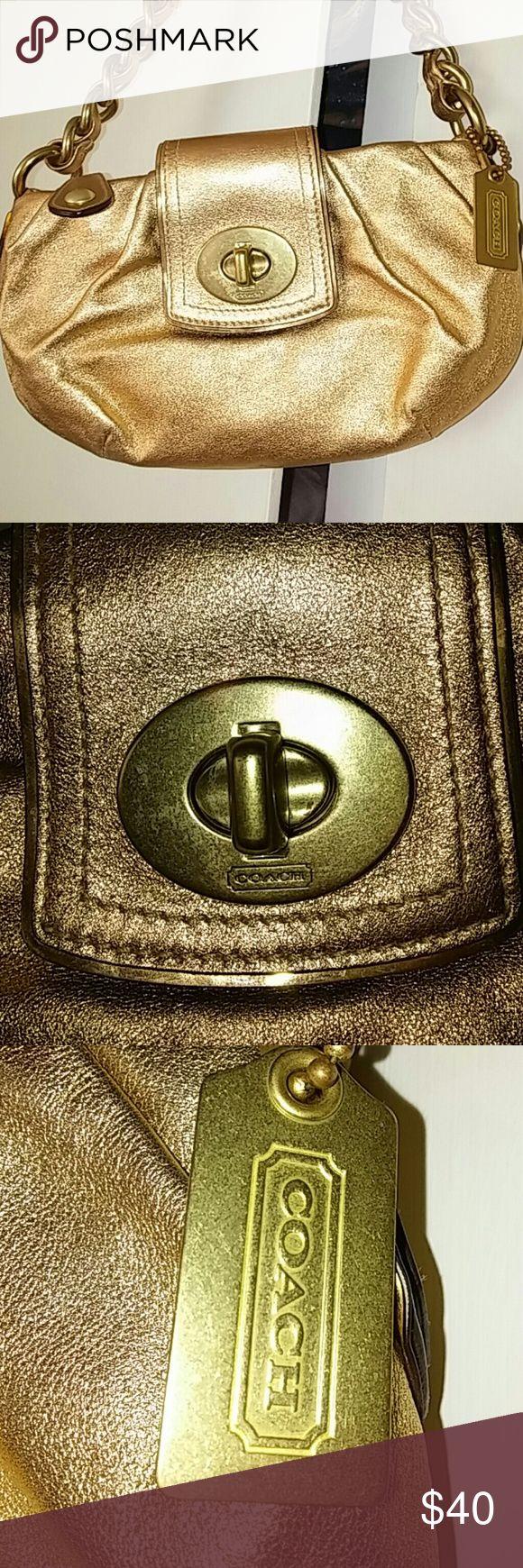 Purse Beautiful Gold Coach bag.Very clean..No damage at all.Kiss Lock and Zipper.Thick Gold Chain. Coach Bags Mini Bags