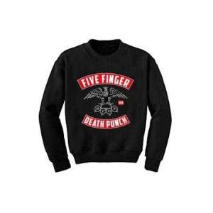 Five Finger Death Punch Eagle Sweatshirt - Stay warm while you rock out with this Five Finger Death Punch Eagle Sweatshirt. Features black crew neck with brass knuckles logo.