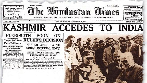 Front page of The Hindustan Times when state of Jammu & Kashmir became part of India in 1947