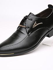 Masculino-Rasos-Sapatos formais-Rasteiro-Preto Marrom-Pele-Escritório & Trabalho Casual