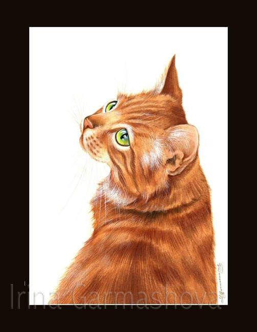 Gember kat Print blik terug door Irina Garmashova