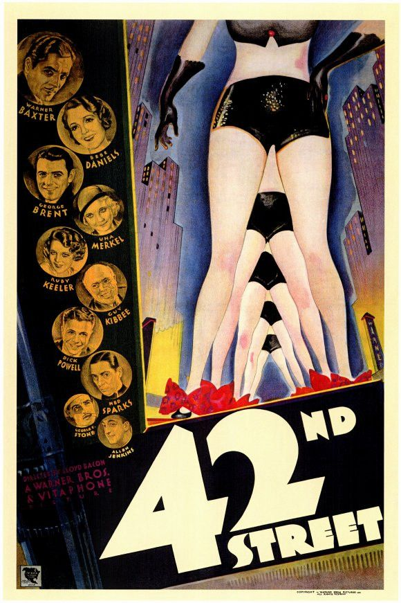 "CAST: Warner Baxter, Ruby Keeler, Bebe Daniels, George Brent, Dick Powell, Guy Kibbee, Ginger Rogers, Una Merkel, Busby Berkeley, Ned Sparks, George E. Stone; DIRECTED BY: Lloyd Bacon; Features: - 11"""