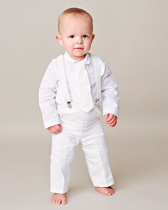 Landen Baby Boy Suspender Christening Baptism by OneSmallChild This would be perfect!