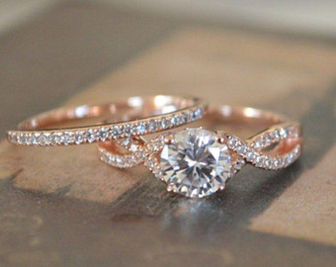Twist Engagement cadre - bande torsadée en or Rose - torsadé infini bague de fiançailles - bague de promesse Art déco - ensemble de mariage en or 14 k