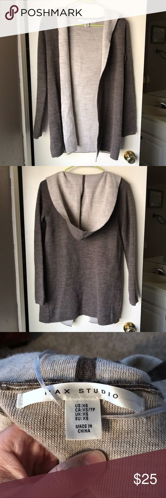Max Studio Double-face Hooded Open Wool Cardigan Like new. Bought in 2017 spring. It doesn't fit me anymore. Love ❤️ it. Warm and comfortable. Max Studio Sweaters Cardigans