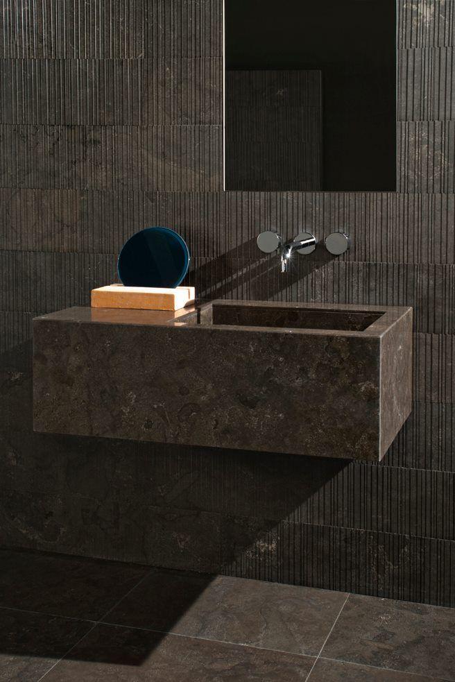 Novello Presents Its New Bathroom Furniture Collection: Stiletto & Filo By Salvatori, Washbasin In Pietra D'avola