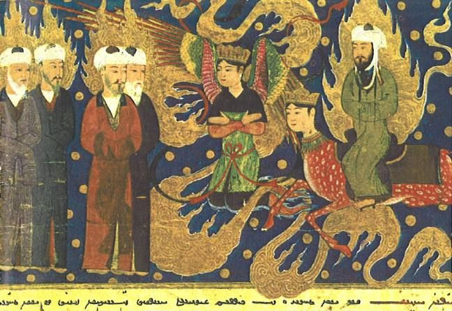 Mohammed meets the prophets Ismail, Is-hak and Lot in paradise. From the Apocalypse of Muhammad, written in 1436 in Herat, Afghanistan (now in the Bibliotheque Nationale, Paris). (Hat tip: A.L. and Buck.)