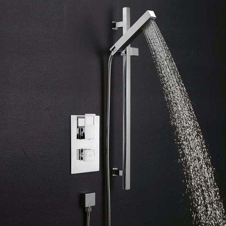 Hudson Reed Kubix Slider Shower Rail Kit, Pencil Handset, Chrome-0