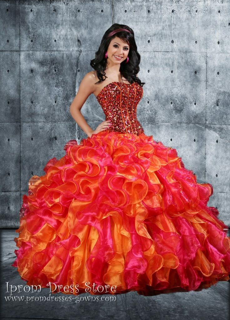 Orange Ball Gown Strapless Neckline Floor length Sleeveless  Quinceanera Dress with Beading
