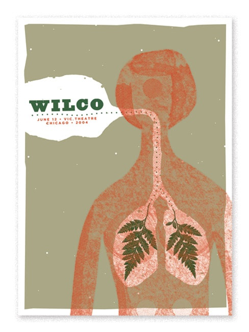 Show poster for Wilco's 2004 Chicago performance.