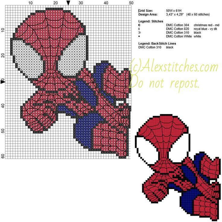 Spiderman free cross stitch pattern 50x61 5 colors