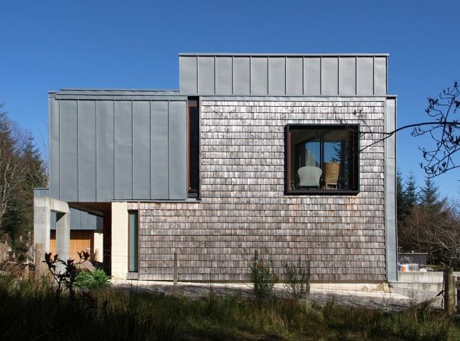 Timber shingles and zinc cladding
