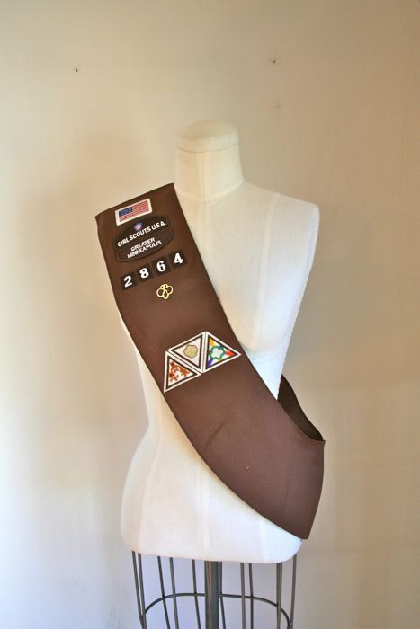 vintage girl scouts sash  BROWN 80s official girl scouts by MsTips, $14.00