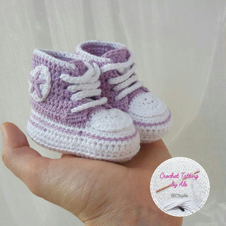 Scarpine a uncinetto stile CONVERSE per neonato : Moda bebè di crochettattingbyale