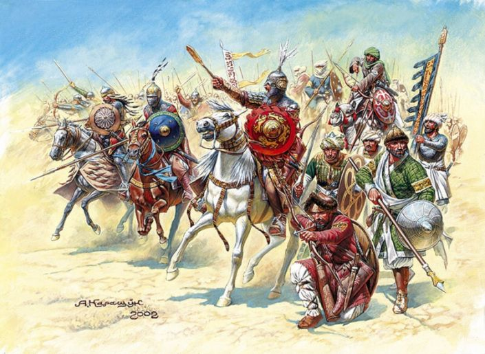 The burden of Ayyubid cavalry composed of Arabs, Kurds, in Persian and Turkish