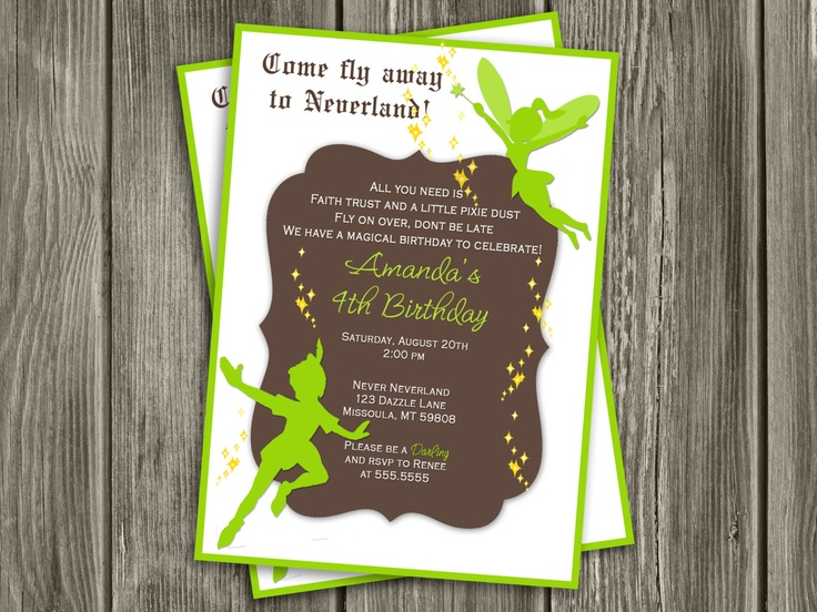 Peter Pan and Tinkerbell Invitation - FREE thank you card included. $15.00, via Etsy.