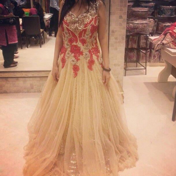 Nude colored indo-western gown