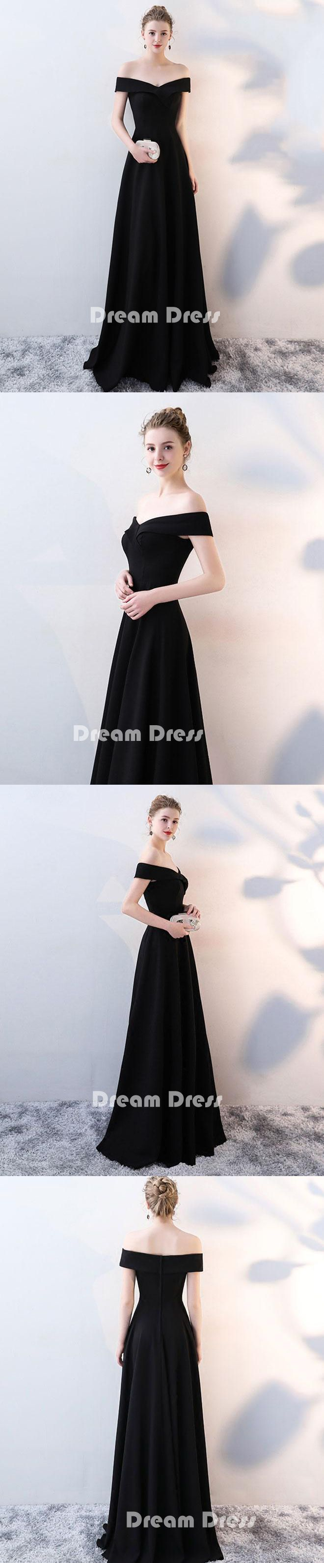 Black v neck long prom dresses, black evening dresses,PD280003 #promdresses #shopping #fashion #dresses #evening