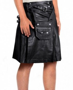 Mens pleated black Watch Leather kilts skirts with side adjustable buckle tabs, front detachable pouch belt with multiple pockets available at the kilt shop.