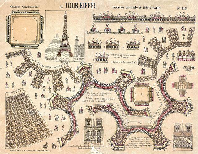 A vintage cut out and assemble Eiffel Tower.  la tour eiffel by pilllpat (agence eureka), via Flickr