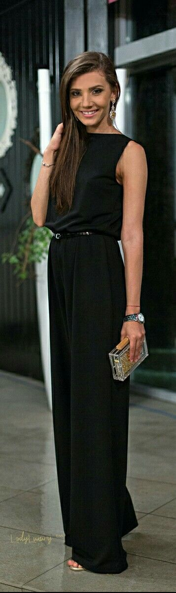 Chic In The City- Sleek and Sexy  Black Jumpsuit | LadyLuxuryDesigns