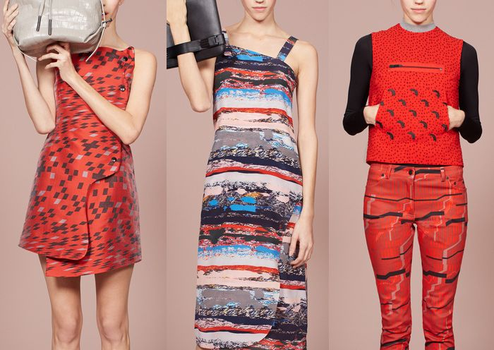Opening Ceremony – Pre Fall 2014-Optical Sculptured Constructions – Torn and distressed Textures – Distorted Geometrics – Micro Chip Prints – Abstract Pattern Placements