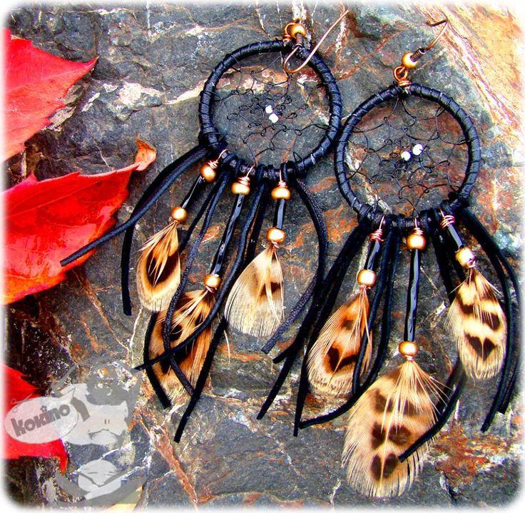 Dream Catcher Earrings, Boho style earrings with feathers, made by www.facebook.com/kokinoshop