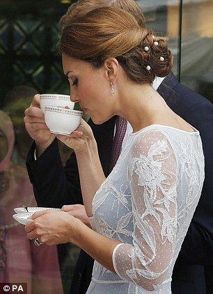 Nice cuppa: The Duchess of Cambridge sips a cup of tea during a Diamond Jubilee Tea Party at the British High Commission in Kuala Lumpur: Duchess Of Cambridge, Teas Time, The Duchess, Katemiddleton, Kate Middleton, Hair, Teas Parties, Lace Dresses, Princesses Kate