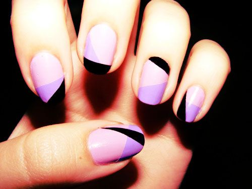 purple abstract nails